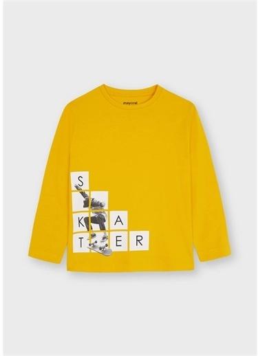 Mayoral Mayoral Erkek Çocuk Baskılı Sweatshirt Sarı